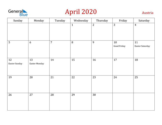 Image of April 2020 Dark and Red Professional Office Calendar Calendar