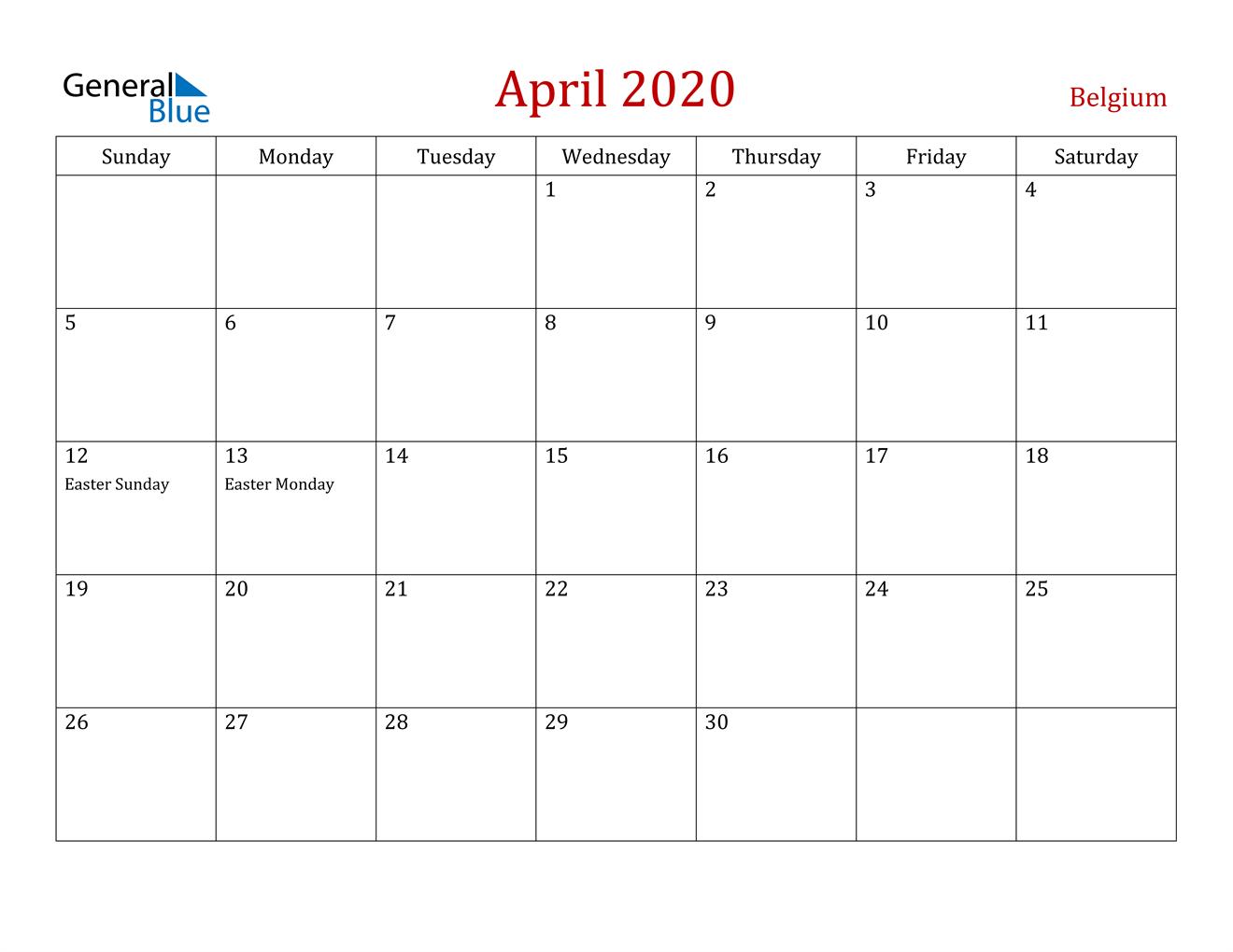 Image of April 2020 Dark and Red Professional Office Calendar Calendar