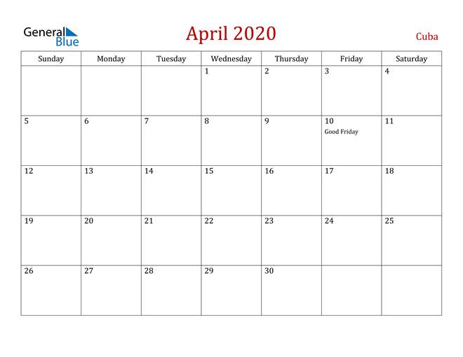 April 2020 Dark and Red Professional Office Calendar Calendar