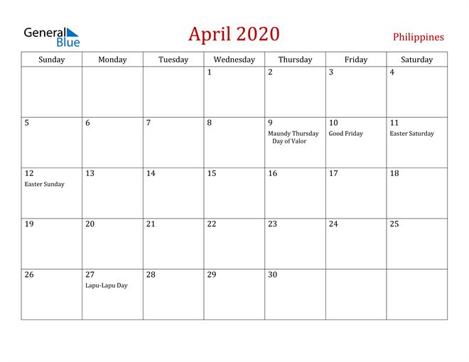 Philippines April 2020 Calendar