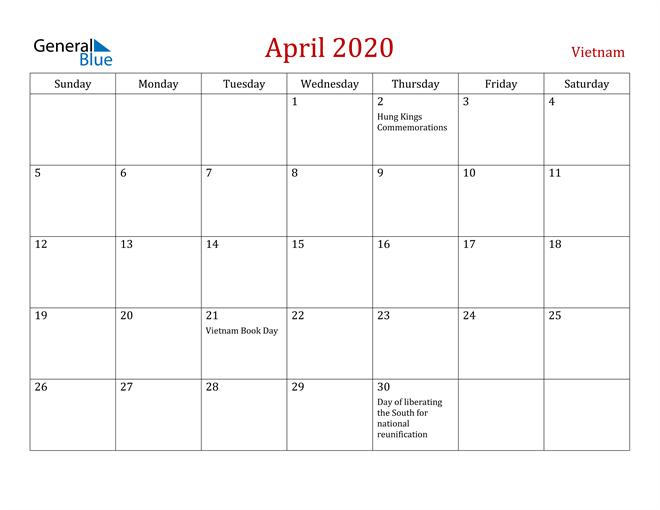 Vietnam April 2020 Calendar