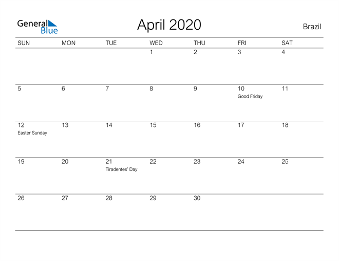 Image of April 2020 A Streamlined Design, The Perfect Printable Calendar. Calendar