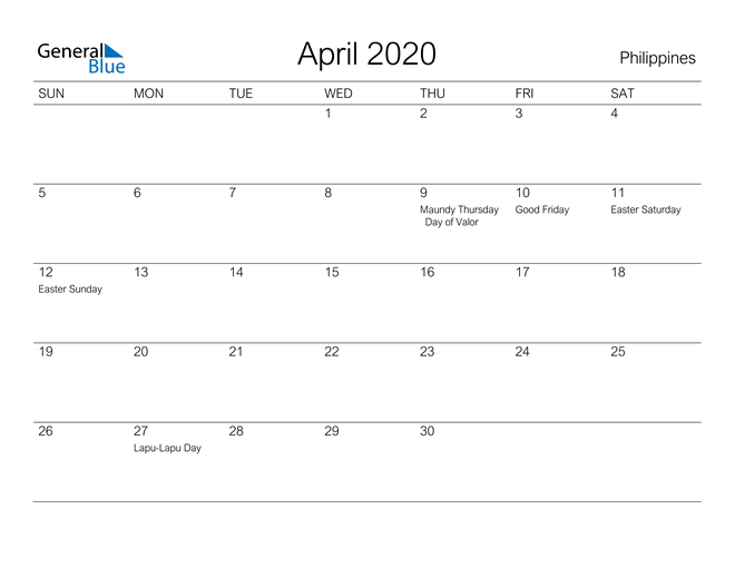 Printable April 2020 Calendar for Philippines
