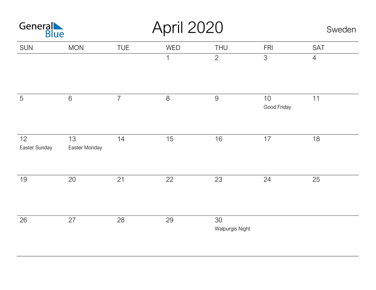 Image of April 2020 A Streamlined Design, The Perfect Printable Calendar. Calendar