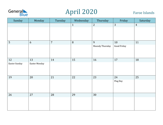 Image of April 2020 Colorful Turquoise Calendar in PDF, Word and Excel Calendar