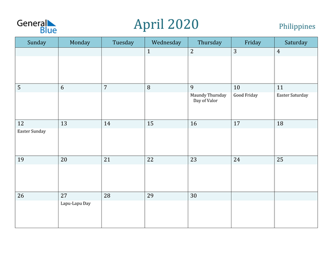 April 2020 Calendar with Holidays in PDF, Word, and Excel