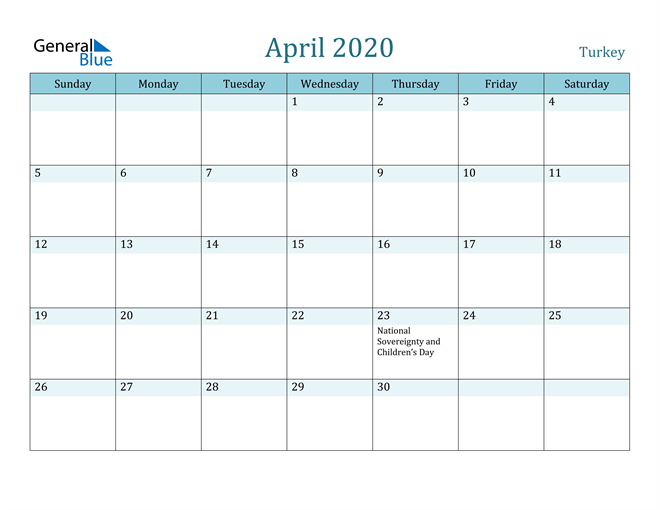 April 2020 Colorful Turquoise Calendar in PDF, Word and Excel Calendar
