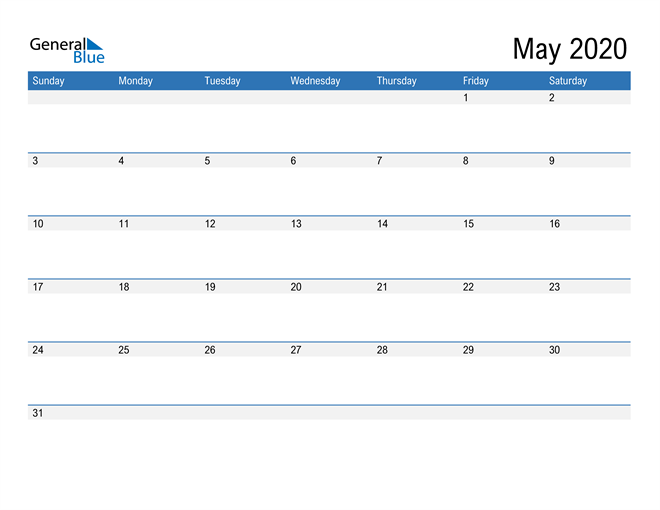 Fillable Calendar for May 2020