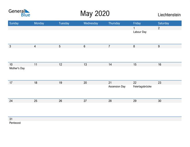 Fillable May 2020 Calendar