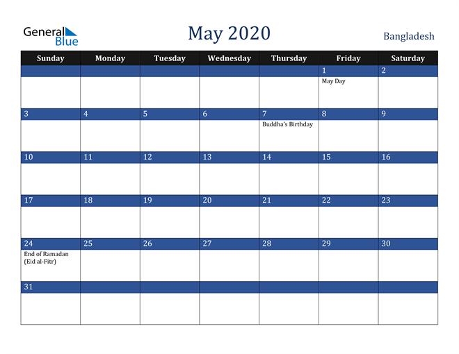 May 2020 Bangladesh Calendar
