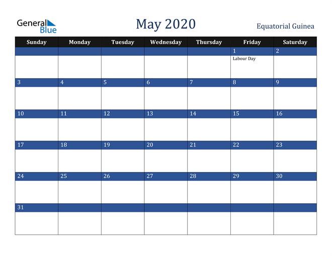 May 2020 Equatorial Guinea Calendar