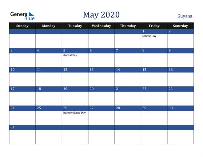 May 2020 Guyana Calendar
