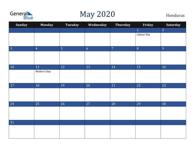 May 2020 Honduras Calendar