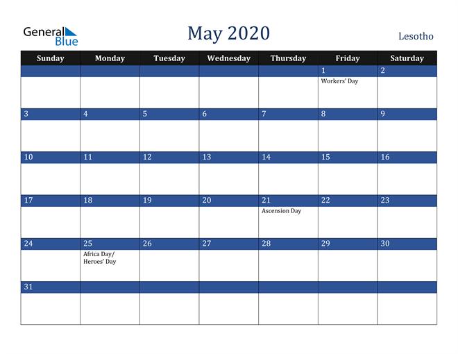 May 2020 Lesotho Calendar