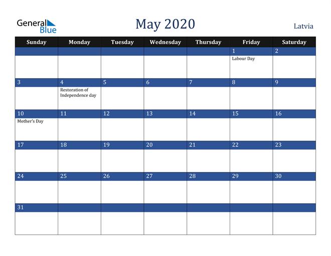 May 2020 Latvia Calendar