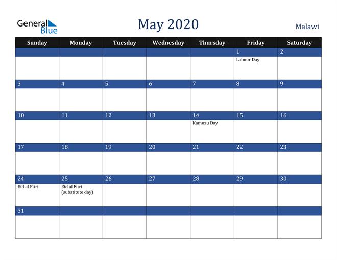 May 2020 Malawi Calendar