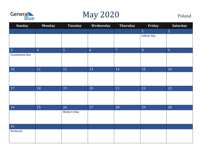 May 2020 Stylish Dark Blue Calendar in PDF, Word and Excel Calendar