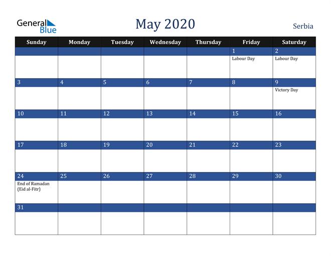 May 2020 Serbia Calendar