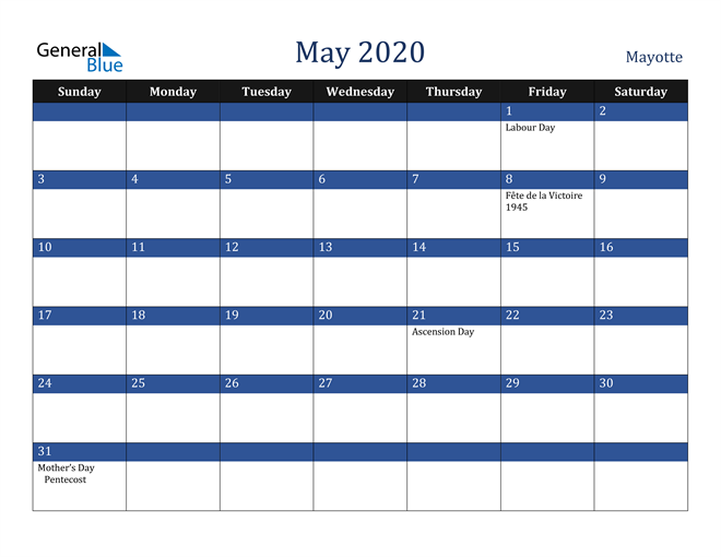 Image of May 2020 Stylish Dark Blue Calendar in PDF, Word and Excel Calendar