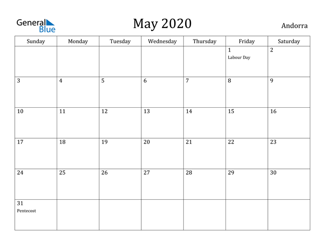 Image of May 2020 Andorra Calendar with Holidays Calendar