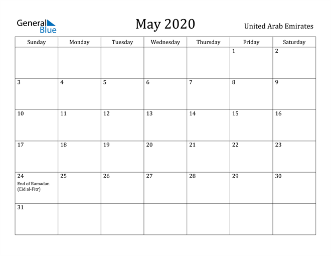 Image of May 2020 United Arab Emirates Calendar with Holidays Calendar