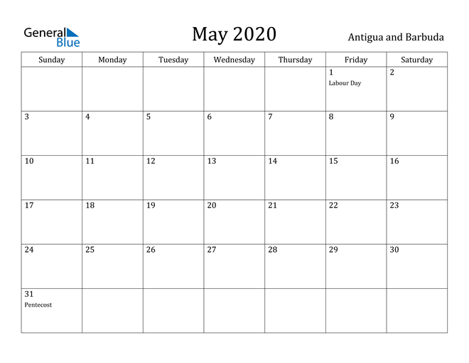 Image of May 2020 Antigua and Barbuda Calendar with Holidays Calendar