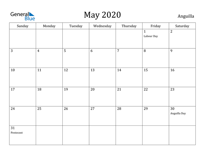 Image of May 2020 Anguilla Calendar with Holidays Calendar