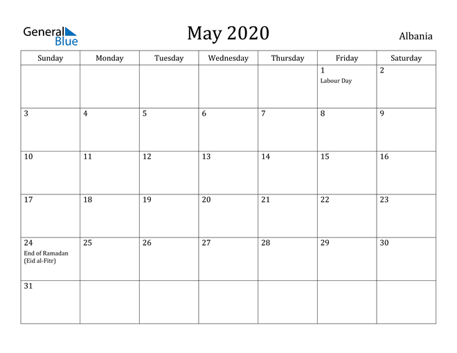 Image of May 2020 Albania Calendar with Holidays Calendar