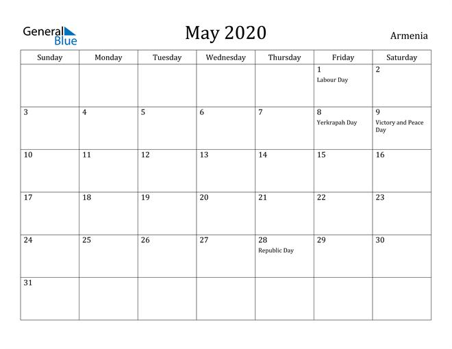 Image of May 2020 Armenia Calendar with Holidays Calendar