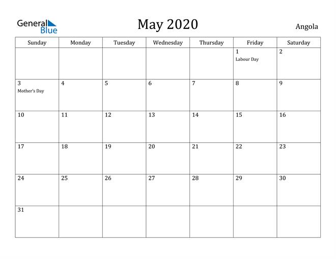 Image of May 2020 Angola Calendar with Holidays Calendar