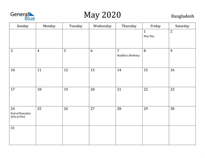 Image of May 2020 Bangladesh Calendar with Holidays Calendar