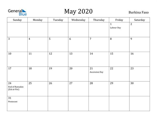 Image of May 2020 Burkina Faso Calendar with Holidays Calendar