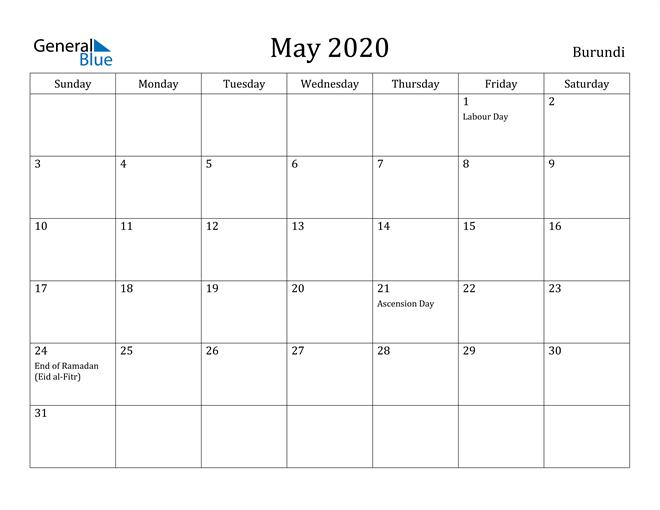 Image of May 2020 Burundi Calendar with Holidays Calendar