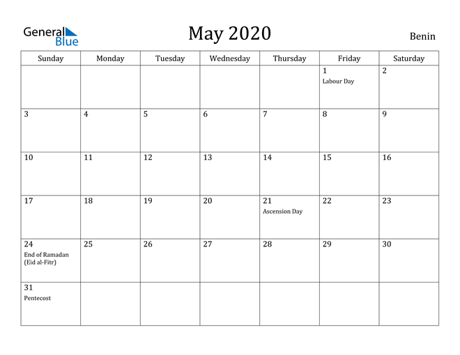 Image of May 2020 Benin Calendar with Holidays Calendar