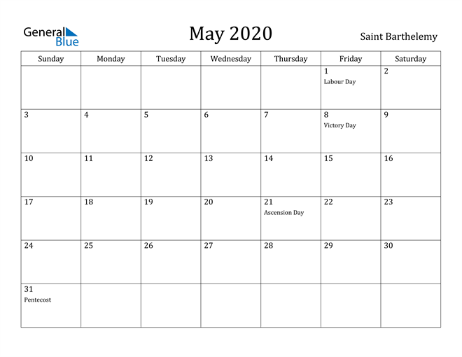 Image of May 2020 Saint Barthelemy Calendar with Holidays Calendar