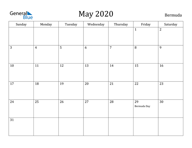 Image of May 2020 Bermuda Calendar with Holidays Calendar