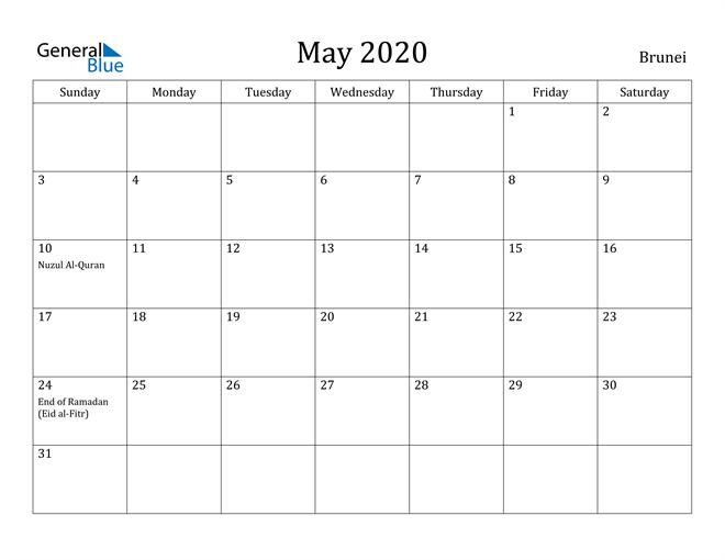 Image of May 2020 Brunei Calendar with Holidays Calendar