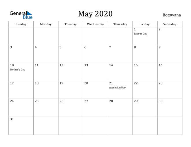 Image of May 2020 Botswana Calendar with Holidays Calendar