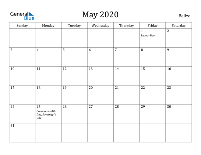 Image of May 2020 Belize Calendar with Holidays Calendar