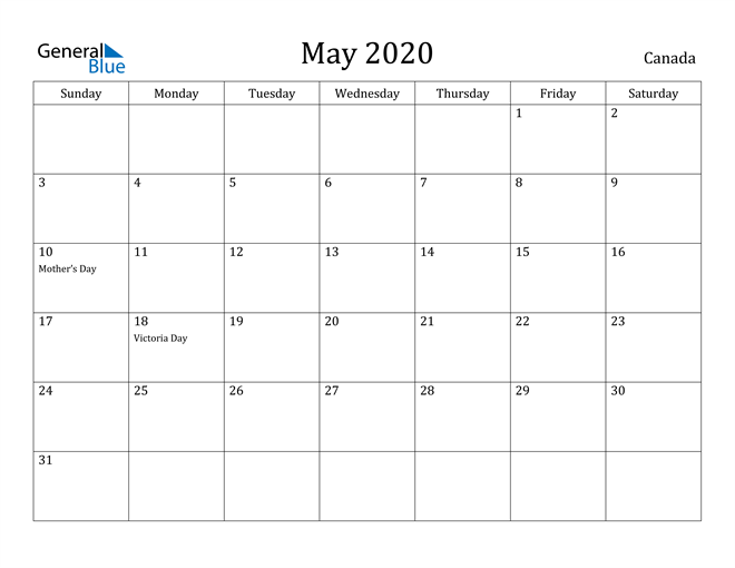 Image of May 2020 Canada Calendar with Holidays Calendar