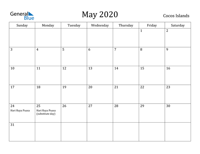 Image of May 2020 Cocos Islands Calendar with Holidays Calendar