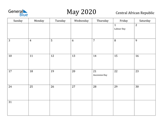 Image of May 2020 Central African Republic Calendar with Holidays Calendar