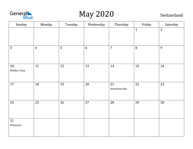 Image of May 2020 Switzerland Calendar with Holidays Calendar