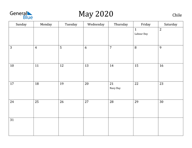 Image of May 2020 Chile Calendar with Holidays Calendar