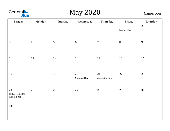 Image of May 2020 Cameroon Calendar with Holidays Calendar