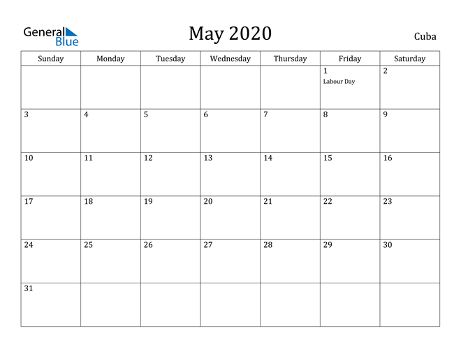 Image of May 2020 Cuba Calendar with Holidays Calendar