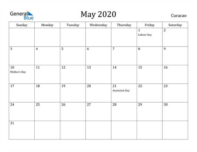 Image of May 2020 Curacao Calendar with Holidays Calendar