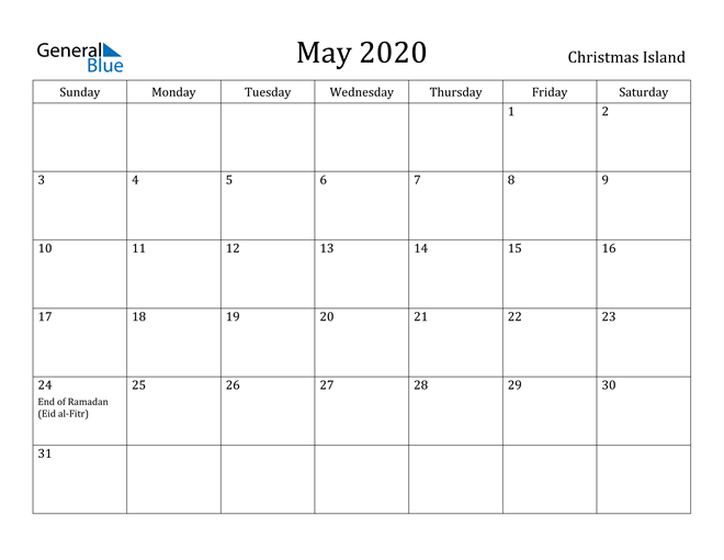 Image of May 2020 Christmas Island Calendar with Holidays Calendar