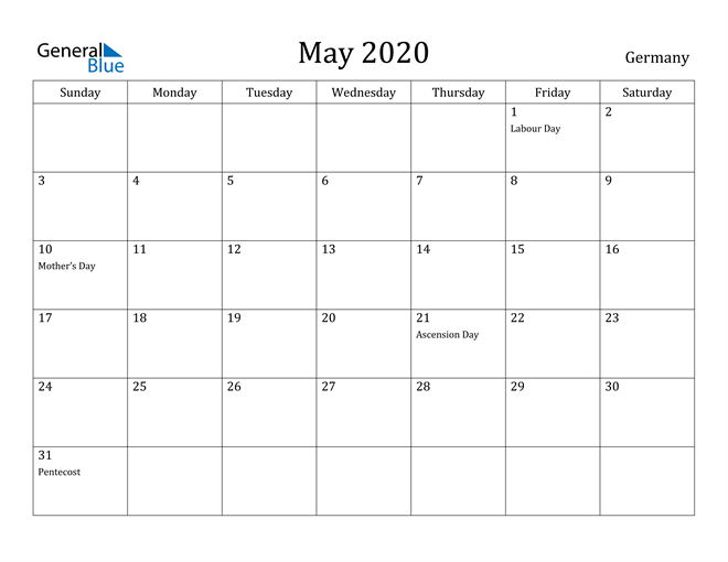 Image of May 2020 Germany Calendar with Holidays Calendar
