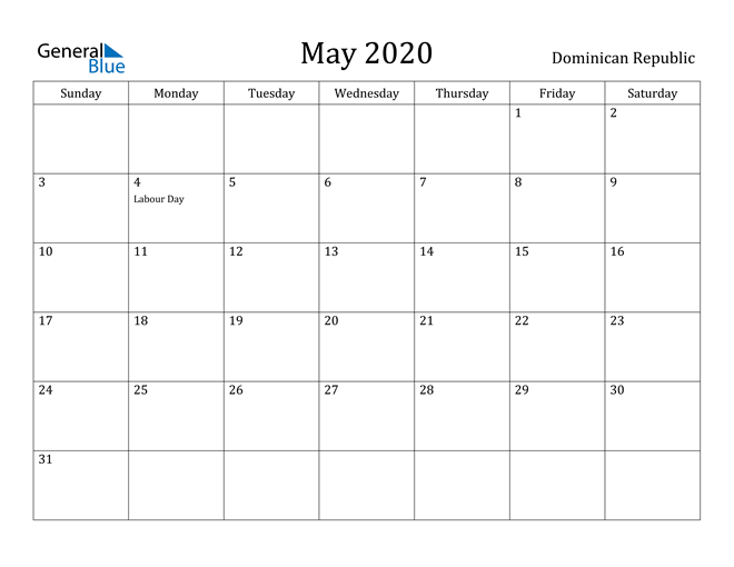 Image of May 2020 Dominican Republic Calendar with Holidays Calendar